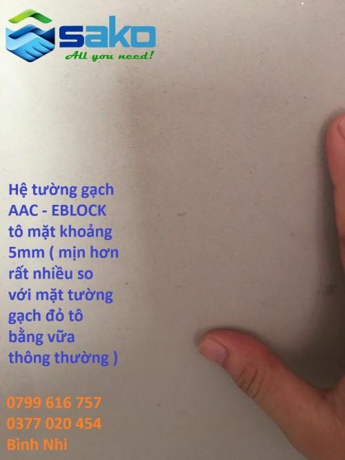 To trat tuong gach nhe AAC voi vua to chuyen dung skimcoat 302
