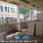 Bên trong bệnh viện Trà Vinh xây gạch nhẹ AAC tường ngăn 10cm, tường bao 20cm
