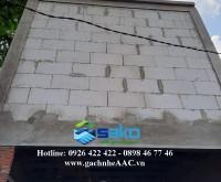 Xây tường gạch AAC 600x300x100mm cho công trình nhà phố tại Quận 6, TP.HCM