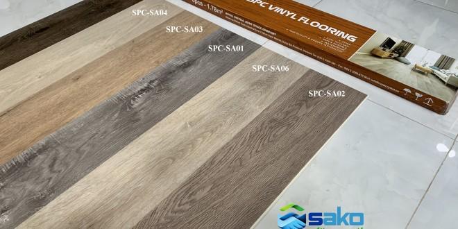 Tấm sàn SPC vân gỗ cao cấp.