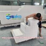 Gạch AAC 600x100x100mm - Xếp lên Palet tại Kho SAKO Việt Nam, Tháng 7.2020
