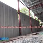 Tấm PANEL AAC 3000x600x75mm đã lắp dựng sơ bộ tại công trình.