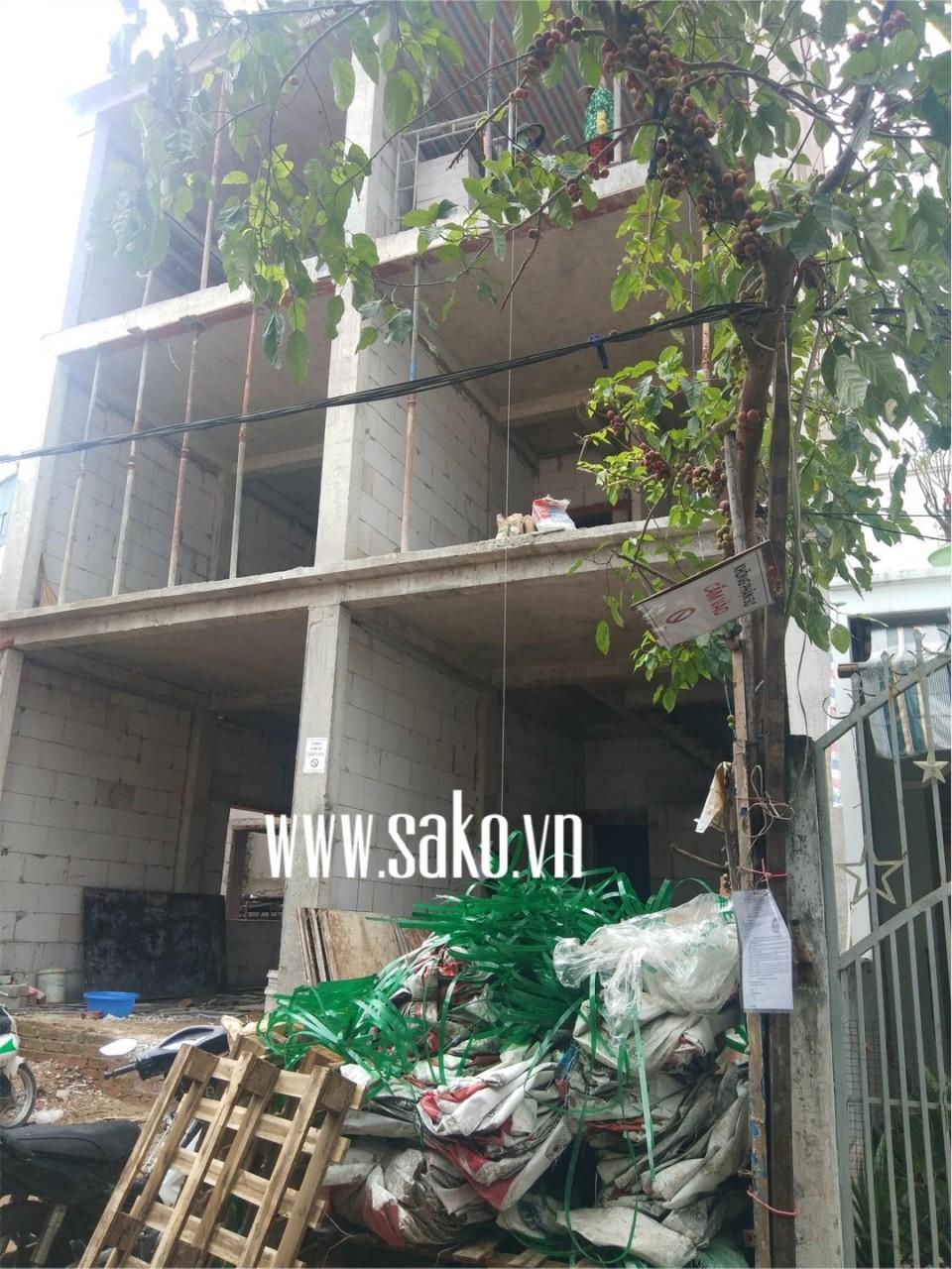 Tòa nhà khi đang xây thô bằng gạch nhẹ AAC SAKO